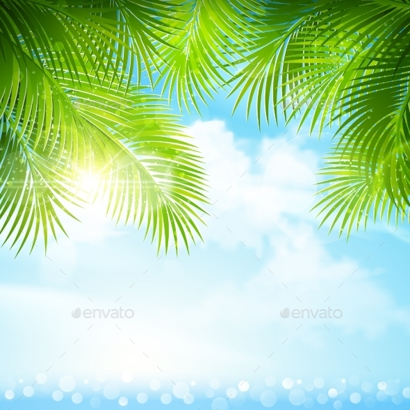 GraphicRiver Palm Leaves with Bright Sunlight 11400650