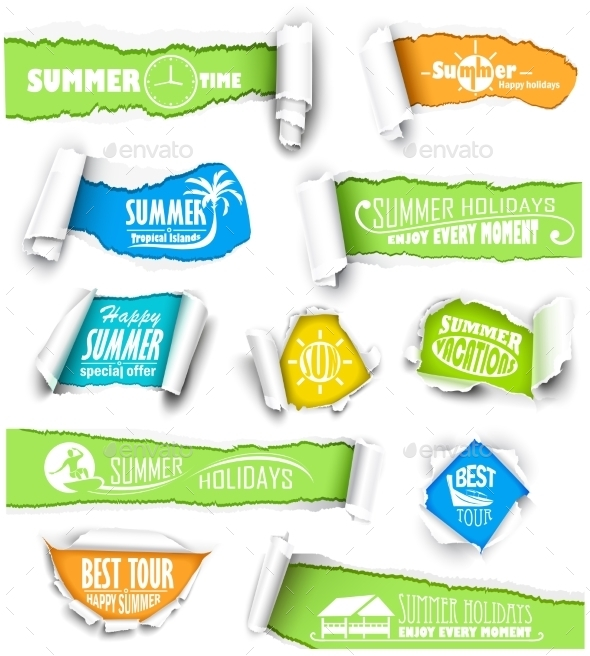 GraphicRiver Set of Torn Papers 11400667