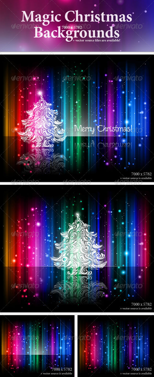 GraphicRiver Magic Christmas Backgrounds 139198