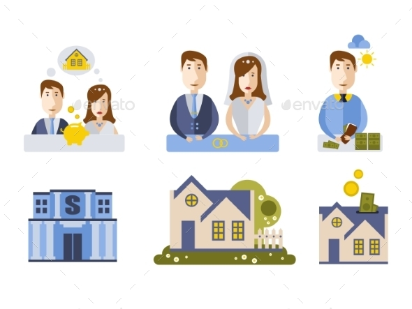 GraphicRiver Getting Married and Buying House Couple 11400857
