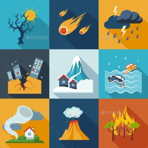 GraphicRiver Natural Disaster Icons 11400922