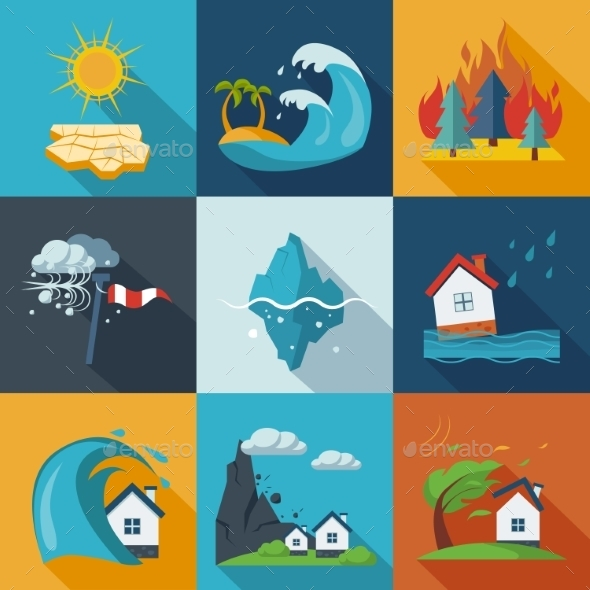 GraphicRiver Natural Disaster Icons 11400926