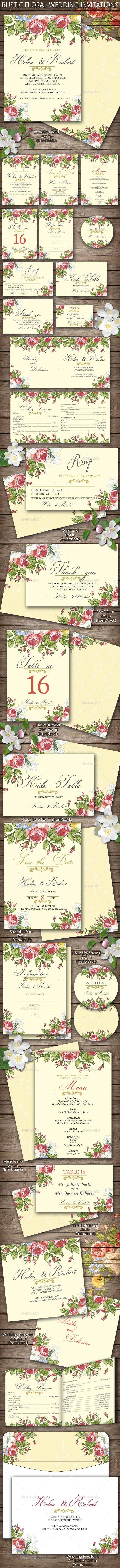 GraphicRiver Rustic Floral Wedding Invitations 11401038