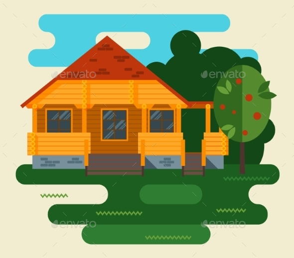 GraphicRiver Summer Landscape with House and Tree 11401053