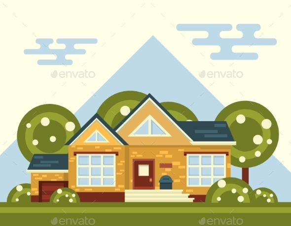 GraphicRiver Summer Landscape with House and Tree 11401054