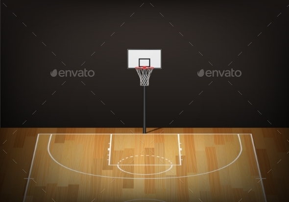 GraphicRiver Basketball Hoop on Empty Wooden Court 11401061