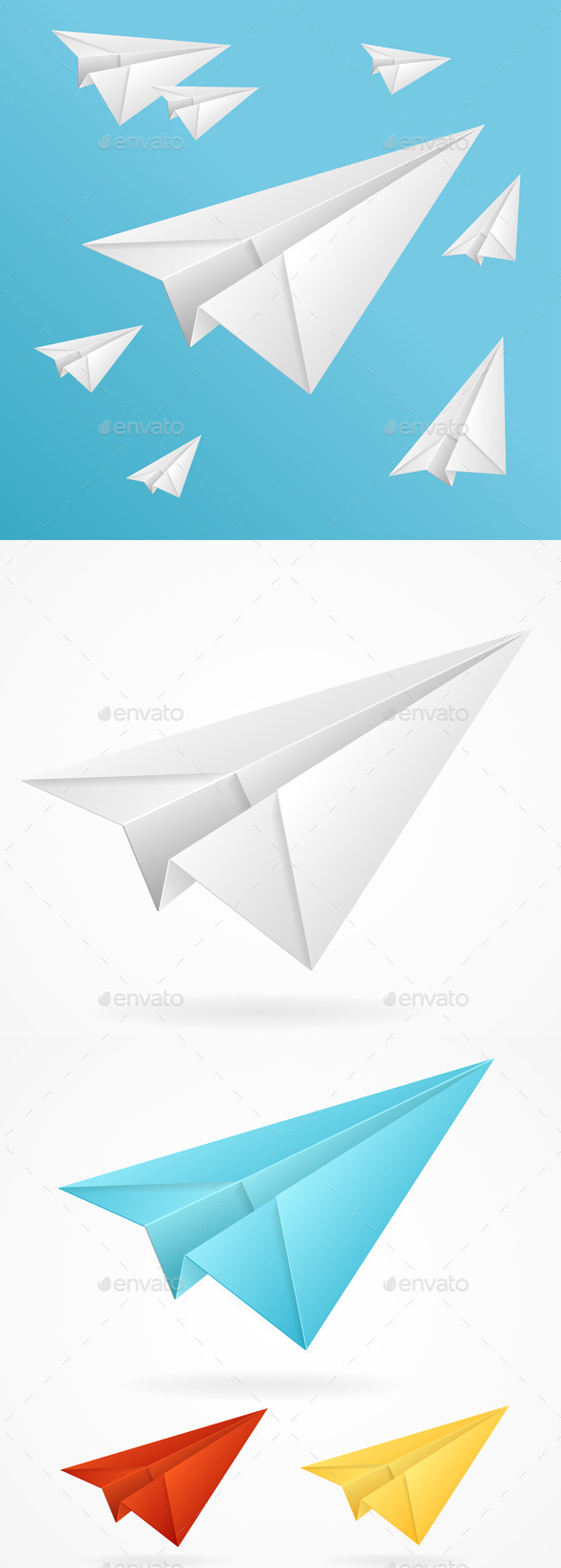 GraphicRiver White Paper Planes in the Sky 11401522
