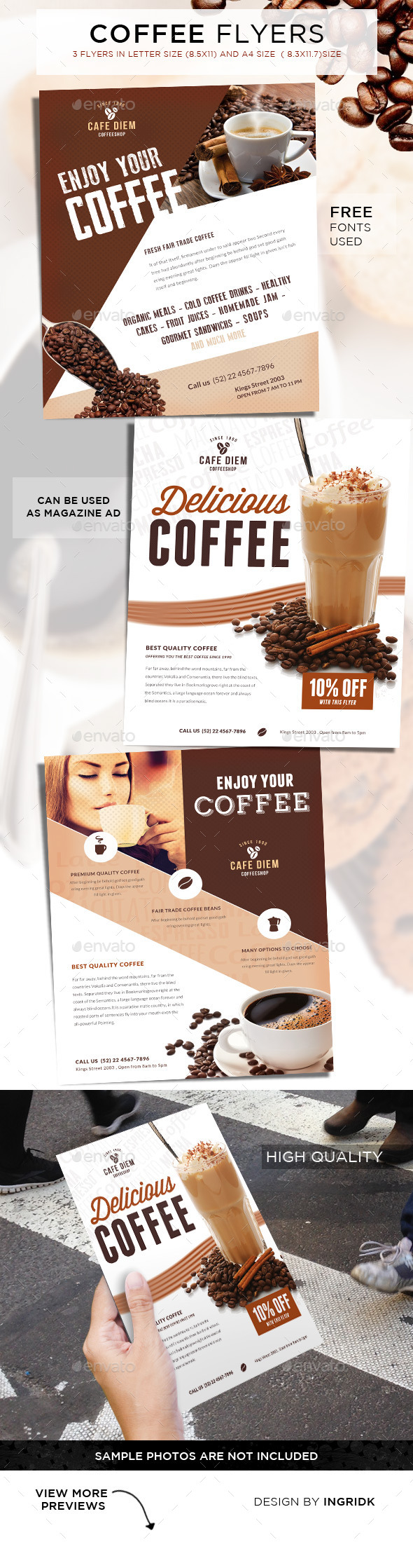GraphicRiver Premium Coffee Flyers Magazine Ad 11401803