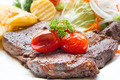 Grilled steak meat with salad from baked pepper - PhotoDune Item for Sale