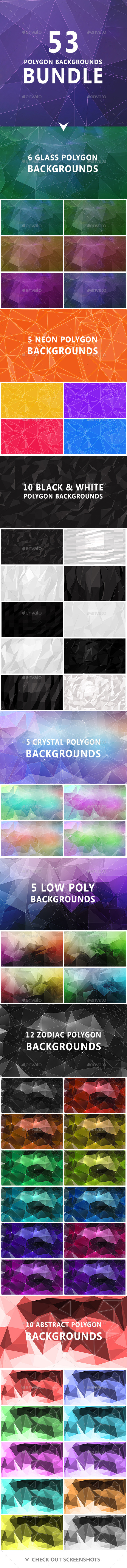 GraphicRiver 53 Polygon Backgrounds Bundle 11402031