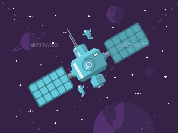 GraphicRiver Satellite with Astronauts in Outer Space 11402059