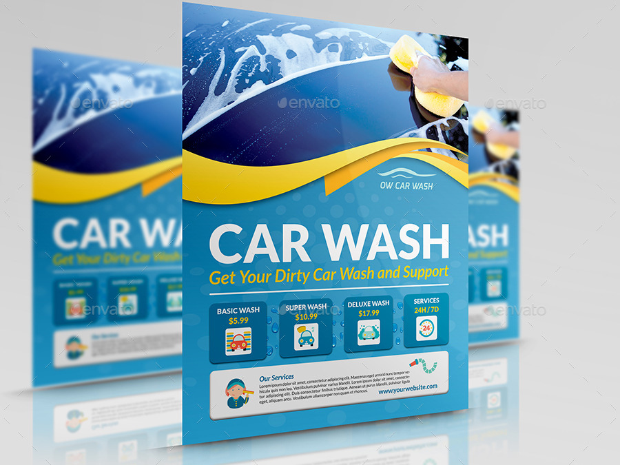 car wash services flyer templates by owpictures graphicriver. Black Bedroom Furniture Sets. Home Design Ideas