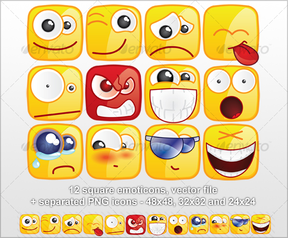 12 Square emoticons - Miscellaneous Characters