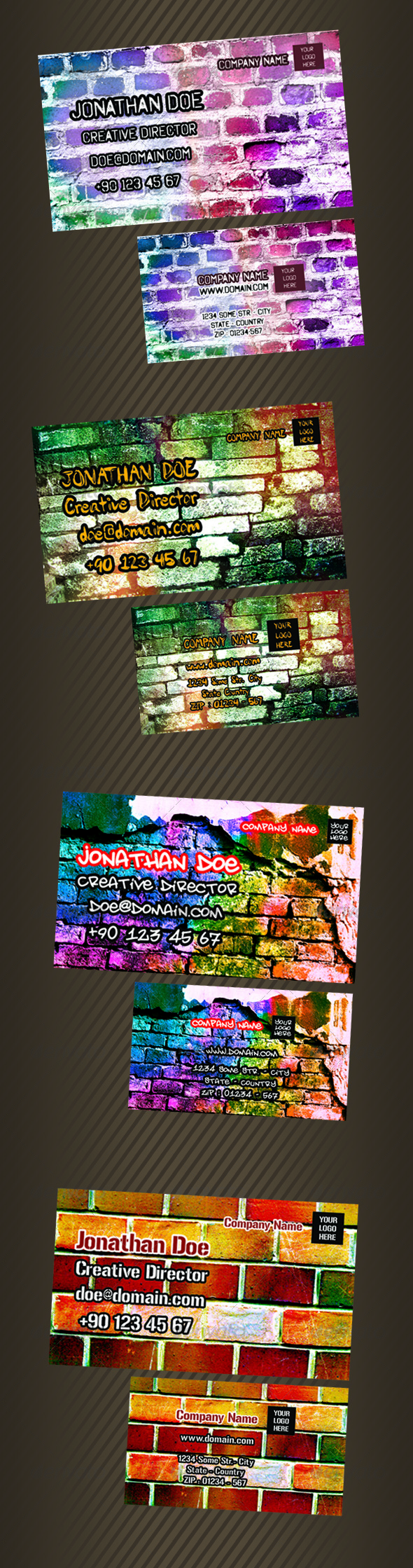 Wall BG Business Card Pack - Real Objects Business Cards
