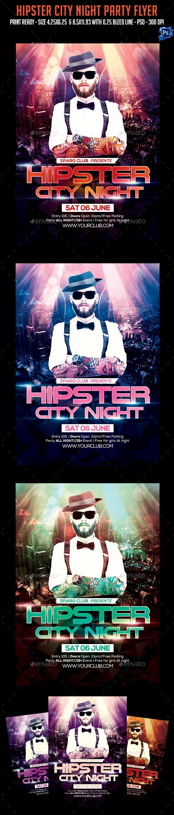 GraphicRiver Hipster Night City Party Flyer 11403287