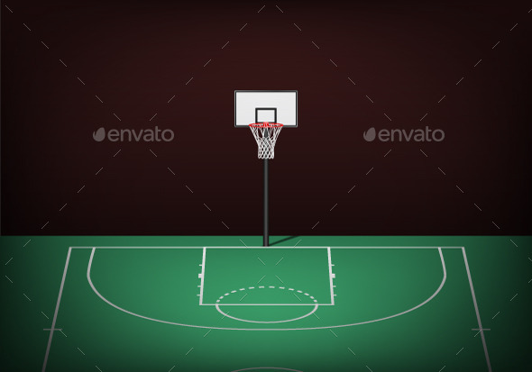 GraphicRiver Basketball Hoop on Empty Green Court 11401090