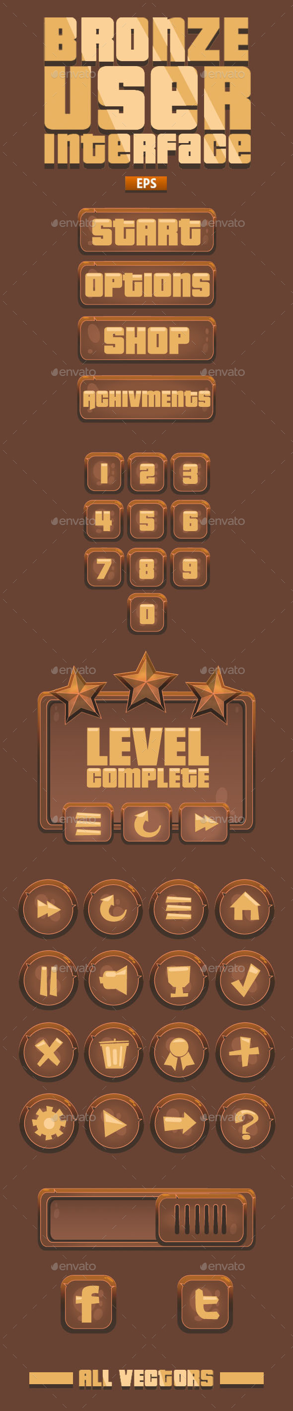 GraphicRiver Bronze VideoGame UI 41 Items- 11403405