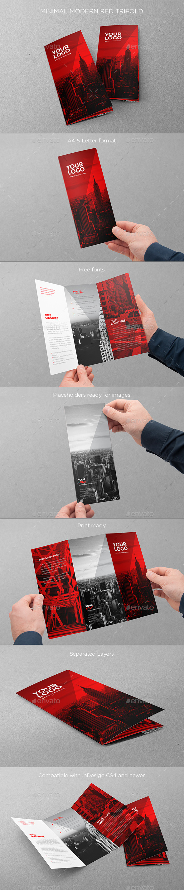 GraphicRiver Minimal Modern Red Trifold 11403554