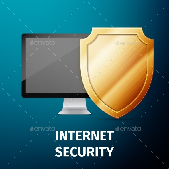 GraphicRiver Computer Display with Shield Internet Security 11404051