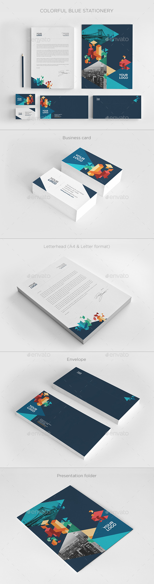GraphicRiver Colorful Blue Stationery 11404263