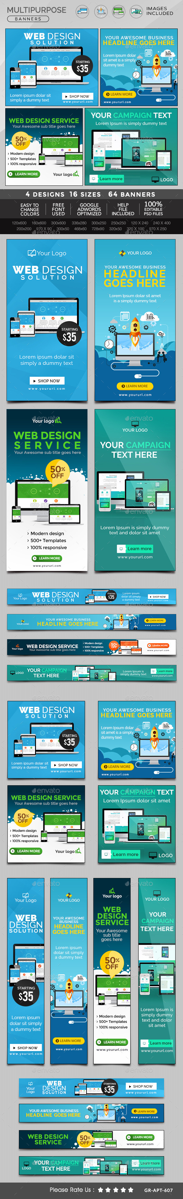 GraphicRiver Multipurpose Banners Bundle 4 Sets 11404374