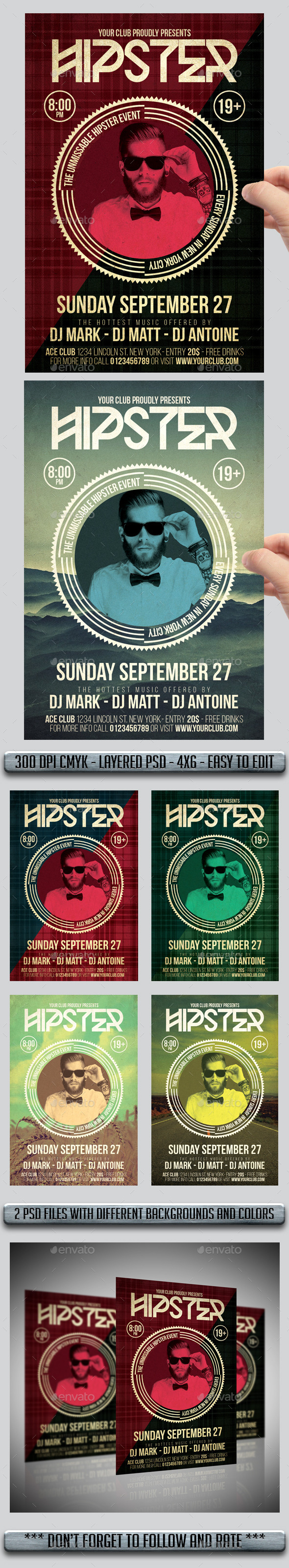 GraphicRiver Hipster Flyers 11405031