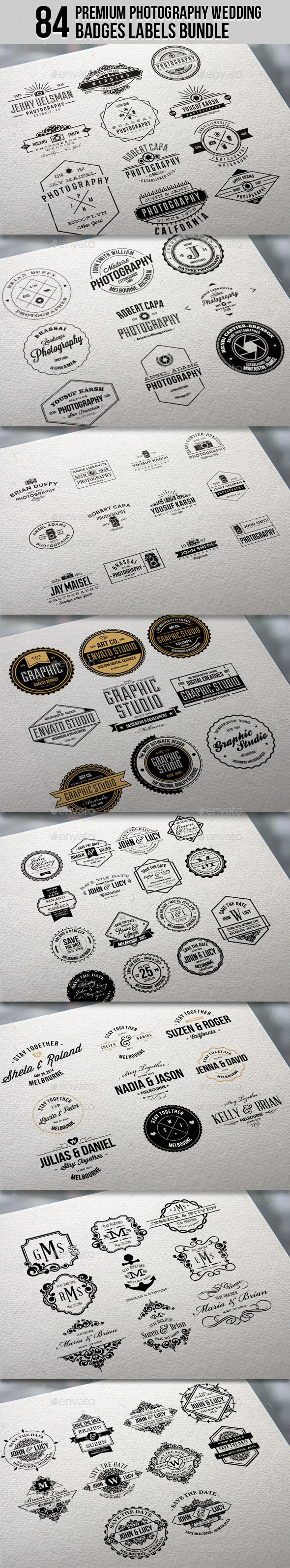 GraphicRiver 84 Premium Photography Wedding Badge Labels Bundle 11405454