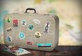 retro suitcase with stikkers on the floor - PhotoDune Item for Sale