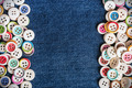different Buttons with blue jeans background - PhotoDune Item for Sale