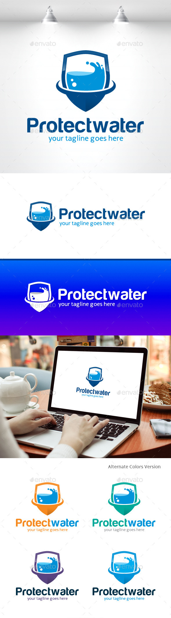 GraphicRiver Water Protect Logo 11406066