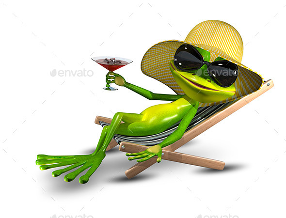 GraphicRiver Frog in a Hat on a Deck Chair with a Glass 11406115