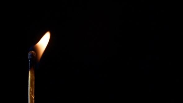 Burning Match On a Black Background Slow Motiion