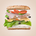 Sandwich with falling ingredients in the air - PhotoDune Item for Sale
