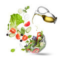 Falling vegetables for salad and oil isolated - PhotoDune Item for Sale
