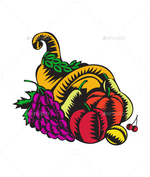GraphicRiver Cornucopia Fruit Harvest Woodcut 11407047