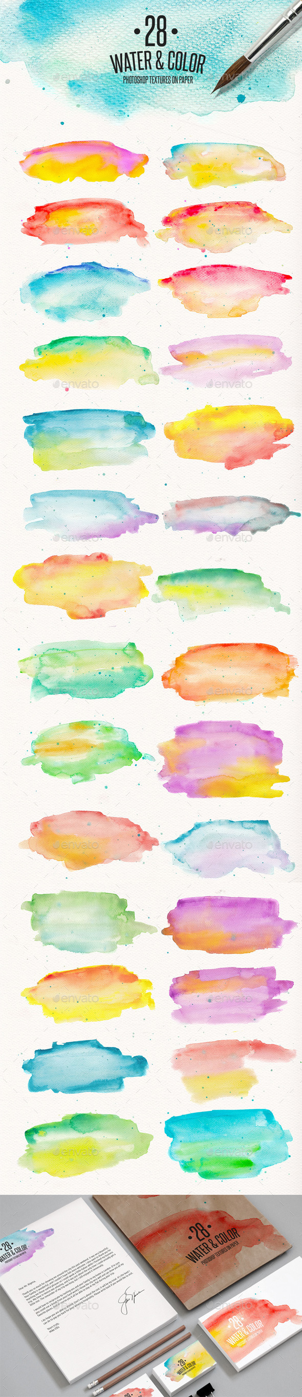 GraphicRiver 28 Watercolor Textures on Paper 11407180