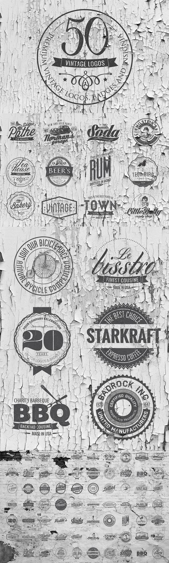 GraphicRiver 50 Vintage Logos Templates 11407268