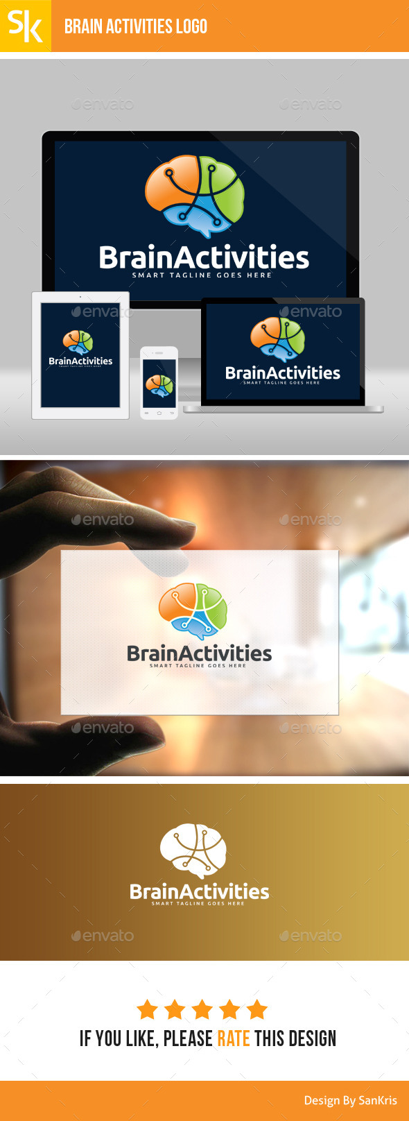 GraphicRiver Brain Activity Logo 11407406
