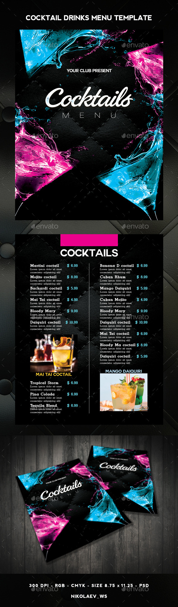 GraphicRiver Cocktail Drinks Menu 11338520