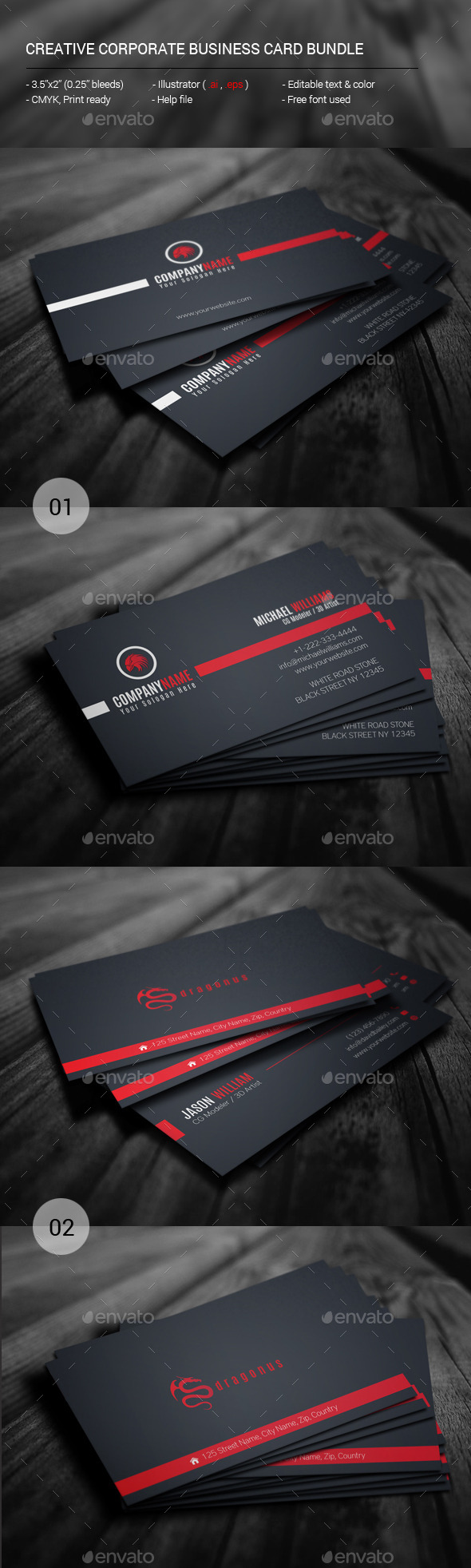 GraphicRiver Creative Corporate Business Card Bundle 11407450