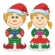Christmas Elves, Boy And Girl - GraphicRiver Item for Sale