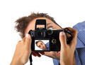 Hands holding a camera and taking a photo to wow man. - PhotoDune Item for Sale