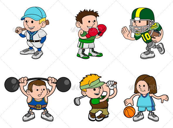 Cartoon Characters Playing Sports : Cartoon sports characters graphicriver