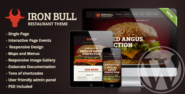 Iron Bull Restaurant Wordpress Theme - Food Retail