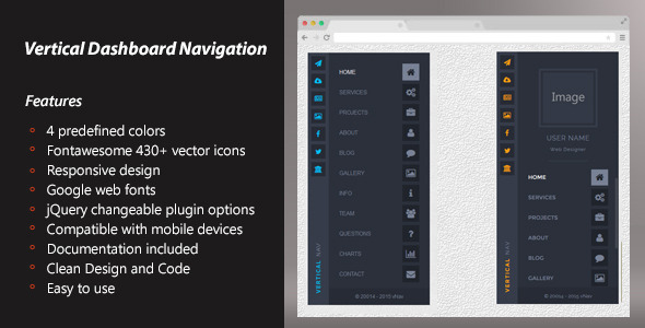 Vertical Dashboard Navigation – Responsive (Navigation) Download