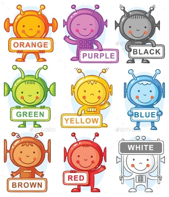GraphicRiver Cartoon Aliens Representing Colors 11408651