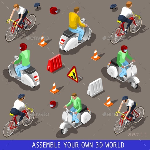 GraphicRiver Isometric Flat 3D Vehicle Scooter Bicycle Set 11408778