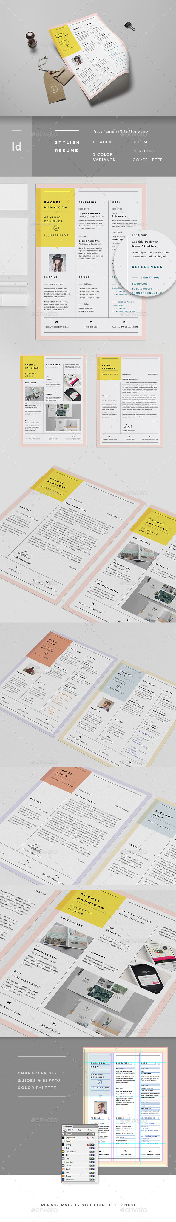 GraphicRiver 3 Pages Minimal Resume Portfolio & Letter 11408875