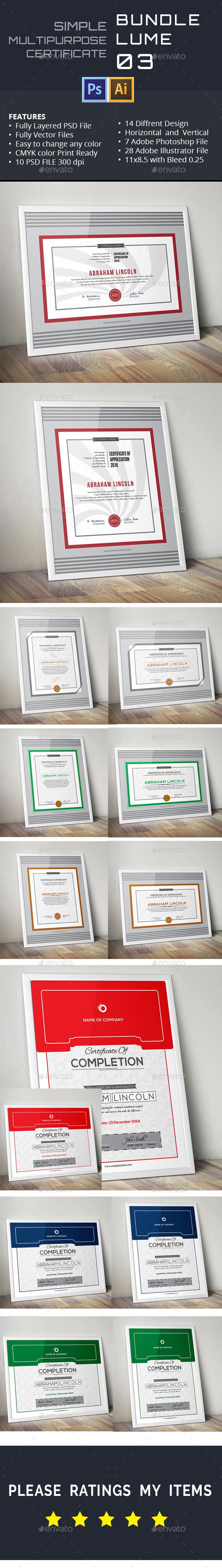 GraphicRiver Simple Multipurpose Certificates Vol 03 11409491