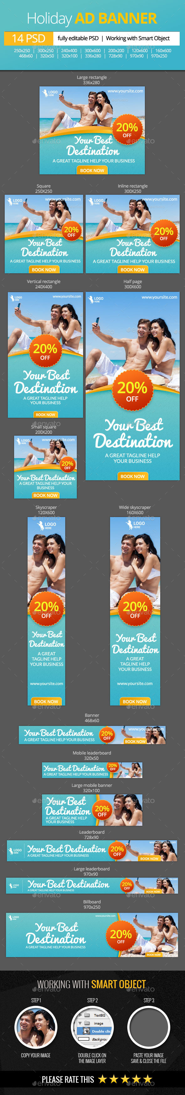 GraphicRiver Holiday Vacations Web Banners 11411356